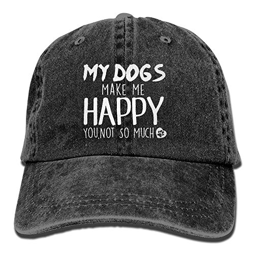 My Dog Make Me Happy You Not So Much Adjustable Cowboy Style Baseball Cap Hat for Unisex Adult