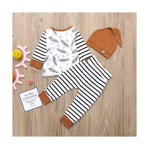 Trisee Ropa Bebe Niño Conjuntos Conjunto de Ropa de Rayas patrón de Plumas Mangas con Capucha Camisetas Recién Nacido… 4