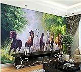Yosot 3D Carta Da Parati Lo Sfondo Di Foresta Pittura Murale Di Otto Cavalli Che Vivono 3D Carta Da Parati Decorazione Della Casa-450Cmx300Cm