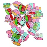 #9: Generic Pack of 50 Assorted Butterfly Wooden Buttons Decoration Flat Back for Sewing and Crafts