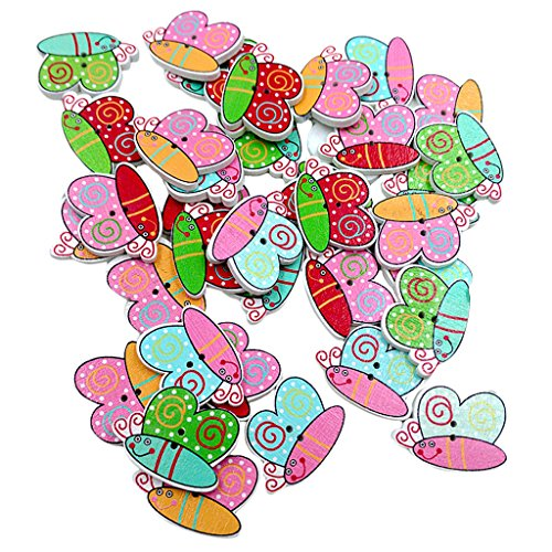 Rare Pack of 50 Assorted Butterfly Wooden Buttons Decoration Flat Back for Sewing and Crafts