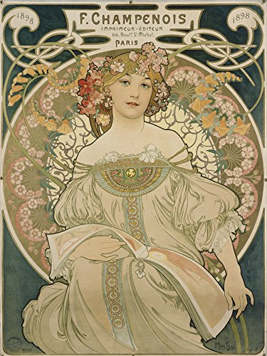 Artland Alte Meister Premium Wandbild Alfons Mucha Bilder Poster 80 x 60 cm Plakat für F Champenois Kunstdruck Wandposter Jugendstil R0II