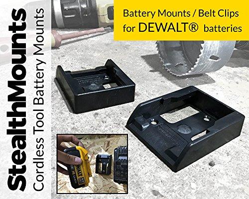 Stealth Mounts Batteriehalter für Dewalt 18 V XR, Flexvolt 54V, 20V MAX & Flexvolt 60V Li-Ion Batterien–Stealth Mounts Aufbewahrung, Akku-Clip, Gürtelclip, Batterie-Halterung