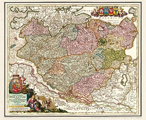 Historische Karte: Holstein mit den Herzogtümern Stormarn, Dithmarschen, Wagrien und Holstein im Jahr 1712