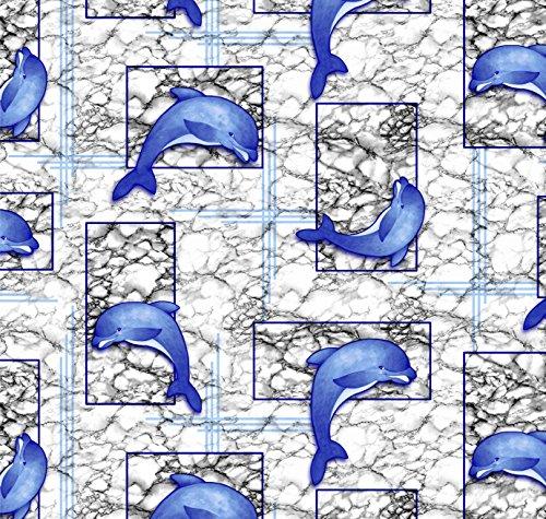 Weichschaummatte, Bodenbelag, Badläufer Aquamat (445-1), Motiv: Delphine grau-blau (65x100cm)