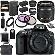 Nikon D5300 DSLR Camera With AF-P 18-55mm VR Lens (Black) + EN-EL14 Replacement Lithium Ion Battery + External Rapid Charger + Sony 64GB SDXC Card + Carrying Case Bundle