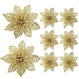 Turelifes Pack of 8 Glitter Poinsettia Artificiale Fiori per l'albero di Natale 5.9 '' (15cm) Diametro (Oro)