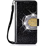 Lomogo Glitter Samsung Galaxy A6 2018 Case Leather Wallet Case with Kickstand Card Holder Shockproof Flip Case Cover for Galaxy A6 (2018) - LOHHA090060 Black