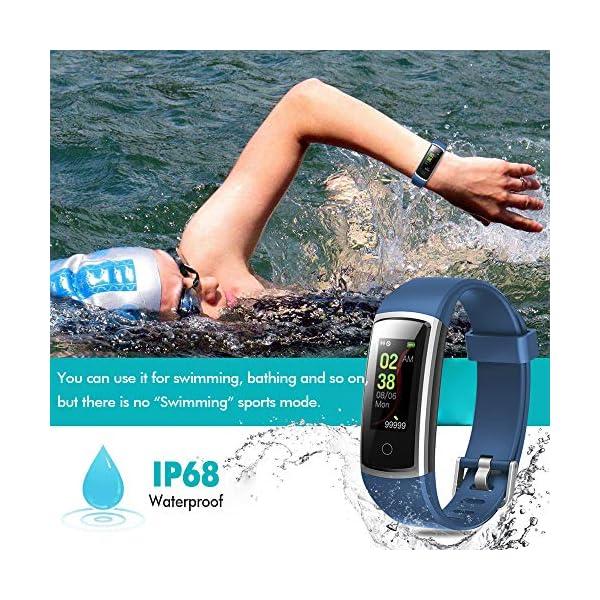 Lintelek Pulsera Actividad Impermeable, Reloj Inteligente con Pulsómetro y Tensiómetro, Reloj Deportivo con GPS Compatible a Android y iPhone 5