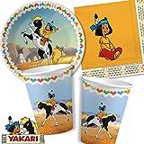 37-teiliges Partyset * YAKARI * mit Teller + Becher + Servietten + Deko // Kindergeburtstag Kinder Geburtstag Party Mottoparty Luftballons Indianerjunge Sioux Kleiner Donner