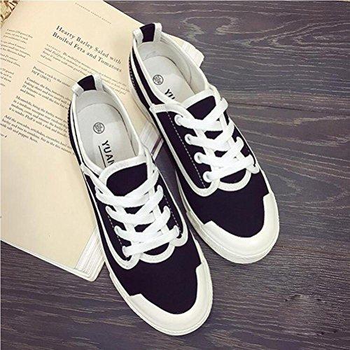 Beiläufige Segeltuch-Schuhe schnüren sich oben junge Frauen-Schuhe Frühling und Sommer Weinlese-Art- und Weiseschuhe Black