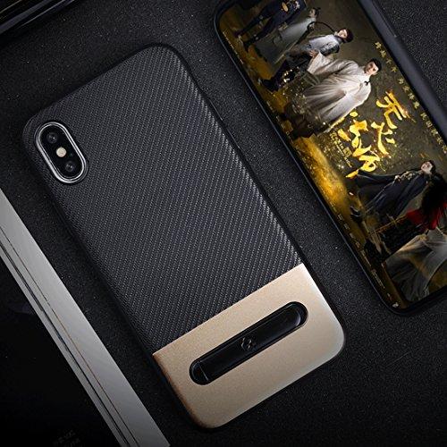 Wangqianli TPU + PC Twill Textur Anti-Rutsch-Schutzhülle mit Magnet Metallring Halter für iPhone X (Großauswahl : Ipxg9007j) -