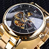 Forsining Openwork Clock Luminous Hands Design Gold Stainless Steel Men's Automatic Watches S1030-2