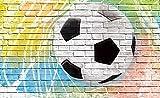 Tapeto Fototapete - Fußball Wand Steine - Vlies 368 x 254 cm (Breite x Höhe) - Wandbild Mauer Fussball