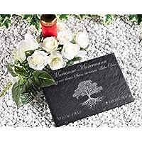 CHRISCK design Gedenktafel mit Gravur Lebensaum Grabstein Grabplatte mit Gravur ca. 30x20 cm