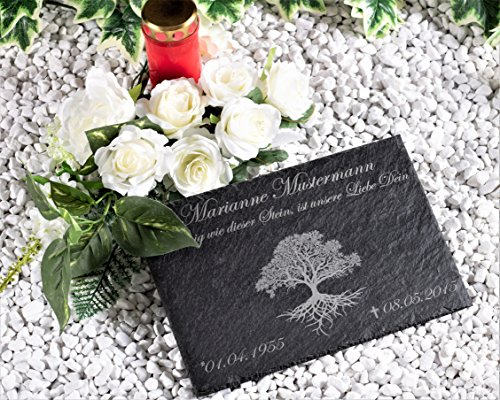 CHRISCK design Schiefer Gedenktafel Grabplatte mit Gravur Lebensbaum Grabstein Grabschmuck graviert ca. 30x20 cm Menschen und Tiere Schiefertafel personalisiert Gedenkstein