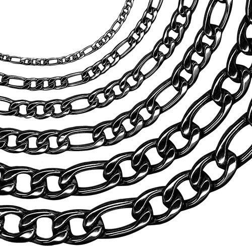chaîne Figaro avec ou sans bracelet, des longueurs différentes, noir