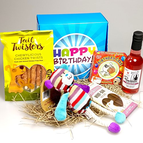 The Ultimate Happy Birthday Dog Treat Box - Pawsecco - Hatchwells Birthday Cake - Chewylicious Chicken Twists
