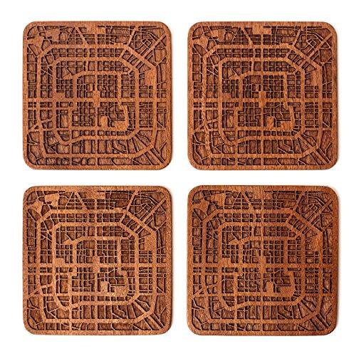 Peking Stadtplan Untersetzer, 4er Set, Sapele Holzachterbahn mit Stadtplan, Handarbeit