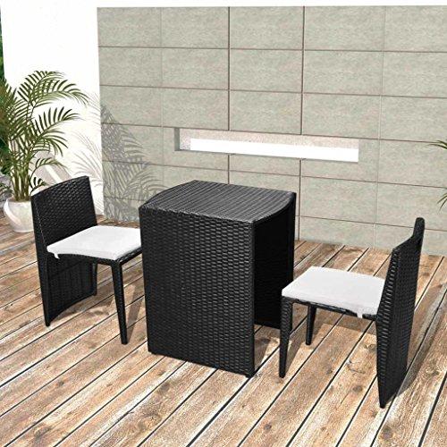 Preisvergleich Produktbild vidaXL Poly Rattan Balkongruppe Schwarz Garten Essgruppe Gartenmöbel Sitzgruppe