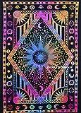 Future Handmade Tapisserie mit Galaxie, Sonne, Mond und Sterne, Tuch, indische Handarbeit, Batik-Tuch, Wandbehang, Stranddecke, Hippie-Tuch, Yoga-Matte, Wohndekoration, 100% Baumwolle, Tagesdecke., 100 % Baumwolle, multi, DESIGN 1