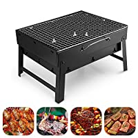 tenty.co.uk Barbecue Grill (Uten) Portable Lightweight Simple Charcoal Grill Perfect Foldable Premium BBQ Grill for Indoor Outdoor Campers Barbecue Lovers Travel Park Beach Wild etc