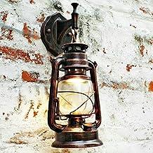 bcyhh pared Candelabro Vintage Rústico clásica La Industria lámpara de pared de hierro forjado Farol 1× E27220V Retro metal creativa lámpara de pared Luz faroles Noche