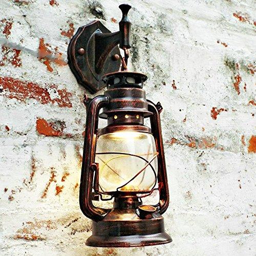 Nickel-metall-schatten (Bcyhh Wandleuchter Vintage Rustikal Klassische Industrie Wandlampe Schmiedeeisen Laterne 1×E27 220V Retro Metall Kreative Lampe Wandlicht Wegeleuchten Nacht (Retro rot))