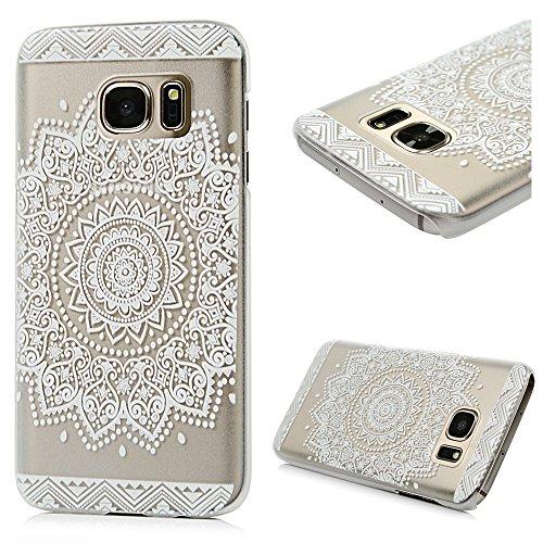 Badalink Handy Tasche Samsung Galaxy S7 Hülle für Samsung Galaxy S7 Case Cover Handycase PC Hardcase Harte Hülle Cover Transparente Schutzhülle mit Totem-Blumen Muster Design Image Print