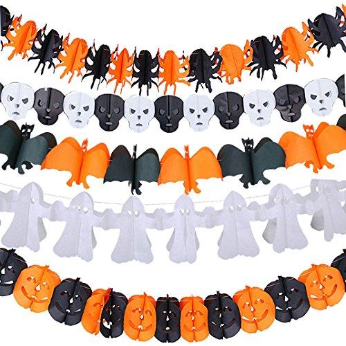 Halloween Papier hängend Kürbisse Geist ein Bat schaurige Halloween Papier Dekoration Halloween-Party-Dekoration-Stütze Beängstigend Prop Partei Club Dekoration Dekor Girlande Geist (Kürbis Kostüme Bunting)