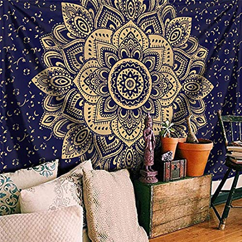 PTMS Tapestry Arazzo Indian Indiano Orientale Mandala Poster 200x150centimeterm Decorazione Murale Blu/Oro Fiore Telo Spiaggia/Meditazione Hippie Yoga LettoMatrimoniale