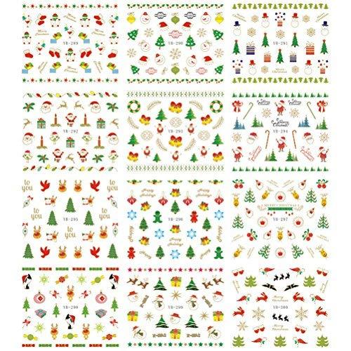Tinksky Weihnachten Nail Sticker Decals 3D Nail Art Aufkleber Maniküre Wassertransfer Wasserzeichen Tattoos Nail Art ()
