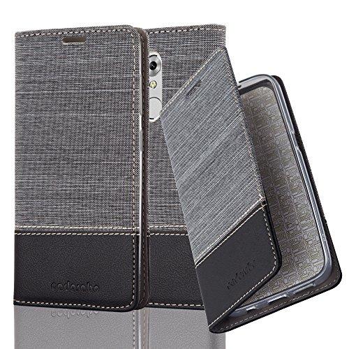 Cadorabo Hülle für ZTE AXON 7 Mini - Hülle in GRAU SCHWARZ – Handyhülle mit Standfunktion und Kartenfach im Stoff Design - Case Cover Schutzhülle Etui Tasche Book