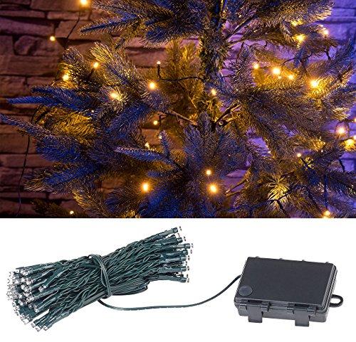 Lunartec Lichtkette: LED-Lichterkette mit 100 LEDs, Timer, Batterie, warmweiß, 10 m, IP44 (Weihnachtsbeleuchtung Batterie)