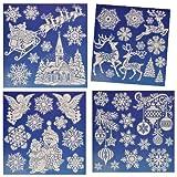3 Bögen: Fensterbilder Weihnachten - mit Glitzer - Weihnachtsmann / Schneemann / Weihnachtskugeln / Rentier / Schneeflocken - Sticker Fenstersticker Aufkleber selbstklebend wiederverwendbar