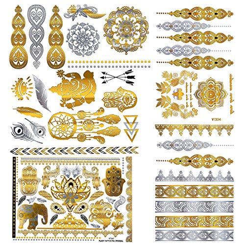 5 fogli adesivi per il corpo di moda rimovibili impermeabile tatuaggio temporaneo - tipo patten: ali, lettere, gatti, totem, cardiogramma