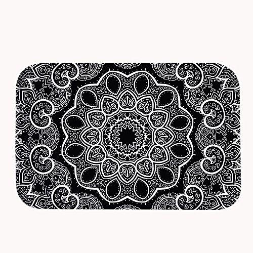rioengnakg blanco y negro Mandala de forro polar Coral alfombra de baño alfombra alfombrilla de puerta entrada alfombra alfombrillas para frontal exterior puerta entrada alfombra, 16' x 24'(40 x 60cm)