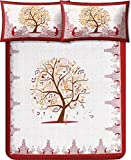 #10: Kuber Industries™ Musical Tree 180 TC 100% Cotton Double Bedsheet with 2 Pillow Covers – Maroon (100*108 Inches)
