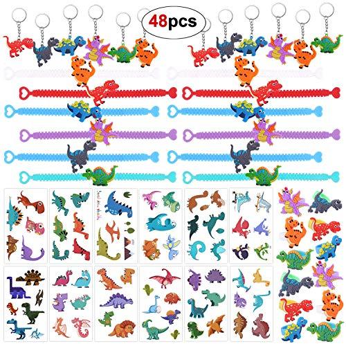 Howaf 48 Stück Dinosaurier Party Set, Dinosaurier Armband, Ringe, Dino kindertattoos, Schlüsselanhänger für Kinder Spielen Mädchen Jungs Gastgeschenke Dinosaurier Kindergeburtstag Mitgebsel