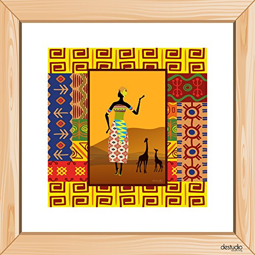 DeStudio African Girl With Mountain Light Brown Small Wall Painting Stickers (Wall Covering Area : 30cm X 30cm )-13975  available at amazon for Rs.149