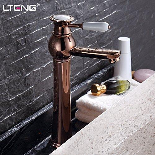 Preisvergleich Produktbild XXTT-Waschtischmischer Hohen europäischen Bühne Becken Einlochmontage Wasserhahn Kupfer blonde heiße und kalte Armaturen gold plattiert Waschtischarmatur Badezimmer Wasserhahn