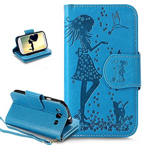 Cover Galaxy S3 Neo,Cover Galaxy S3,ikasus Goffratura Arts Fiore floreale Abiti da ragazza Flip Cover Portafoglio PU Pelle Protective Wallet Stand Custodia Cover per Galaxy S3/S3 Neo,Blu