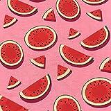 0,5m Jersey Wassermelone rosa-rot 95% Baumwolle 5% Elasthan