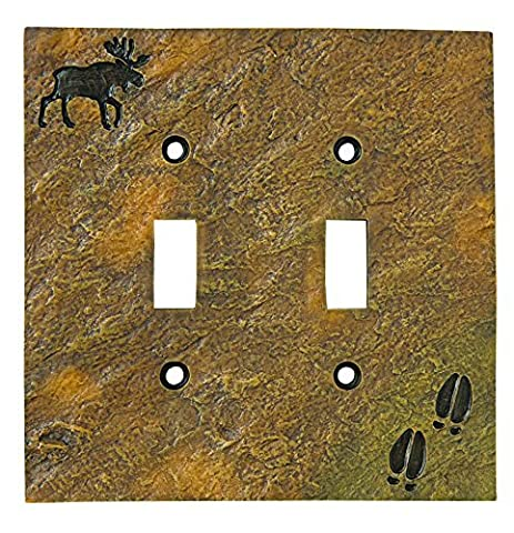 Big Sky Carvers 30170445 Moose and Tracks Double Switch Plate by Big Sky Carvers