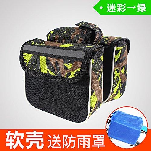 FAN4ZAME Fahrrad Tasche Tasche Tasche Vor Berg Rohr Sattel Tasche Tasche Tasche Beam Mobiltelefon Vorne Fahrrad Zubehör Und Ausrüstung Camouflage - green (with rain mask)