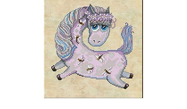 Stickpackung Pferd Fohlen Kreuzstich Perlen 20x20cm Pony Foal Horse ...