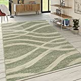 Designer Teppich Kurzflor Wellen Muster Pastelltöne Modern In Grün Creme, Grösse:160x230 cm