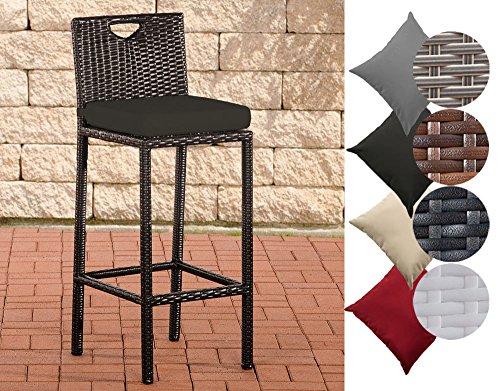CLP Outdoor Barhocker MARI mit Sitzkissen I Polyrattan Tresenstuhl mit Fußstütze I erhältlich Bezugfarbe: Anthrazit, Rattanfarbe: Schwarz