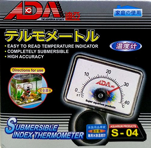 ADA S-04 Fish Tank Aquarium High Accuracy Submersible Index Thermometer, Suction cup included in the pack.