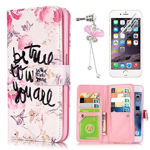 Coque Etui iPhone SE, Sunroyal® Housse iPhone 5s Portefeuille Wallet Motif Fille Fleur Case Cover PU Cuir Dragonne Strap Portable Swag Rabat Flip Skin Shell de Protection avec 9 Fente Fonction Stand P Pattern 06